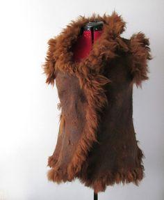 Felted vest - Brown by GalaFilc, via Flickr #felted #vest #clothing #felting #alpaca #wool #raw #fur