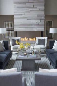 Stacked marble fireplace // R. Cartwright Design