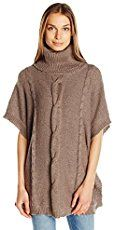 Jack by BB Dakota Women's Keandre Marled Cable Knit Sweater Poncho, Stone Brown, X-Small Best Price on AMAZON