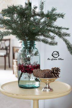 Mason Jar Vignette With Cranberries