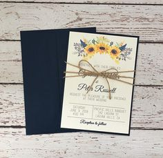 Sunflower invitation navy sunflower wedding invitation navy