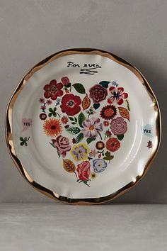 Francophile Dinner Plate #anthropologie $24 I REALLY want this plate...it's just too pretty.