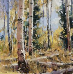 """Clive R. Tyler, """"New Day Aspens,"""" 8 x 8, Pastel"""