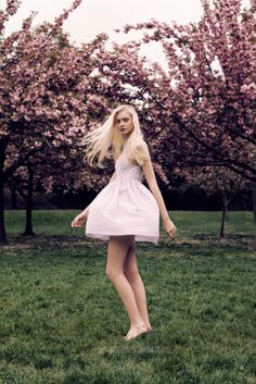 Nastya Kusakina by Jens Ingvarsson with cherry blossoms #flowershop