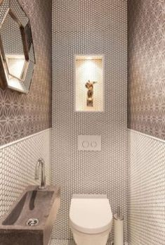 Space Saving Toilet Design for Small Bathroom Home to Z Understairs Ideas bathroom Design home Saving Small Space Toilet Washroom Design, Bathroom Tile Designs, Bathroom Design Luxury, Bathroom Design Small, Bathroom Layout, Small Bathrooms, Bathroom Ideas, Bath Design, Small Toilet Design