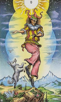 The Fool, Cosmic Tarot - interesting additions of the sun in a night sky and the crystals in the ground http://menageatarot.com