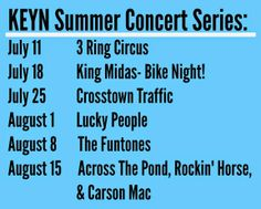 Wichita Area Events: KEYN Friday Summer Concert Series - - July 11th - August 15th 2014