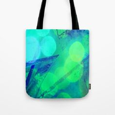 Poplin Fabric Tote Bag // Blue // Green // by earthmothermosaics, $21.00