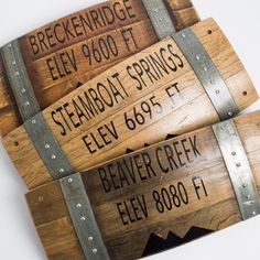 Wine Barrel Elevation Sign, Choice or Custom Mountain Town