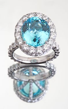 Mark Patterson Paraiba Tourmaline and Diamond Ring