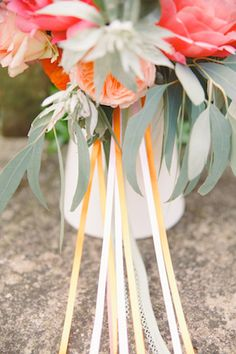Peach ribbons on bridal bouquet   Claire Graham Photography    see more on: http://burnettsboards.com/2015/04/coral-peach-wedding-editorial/