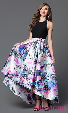 Floral Print High Low Prom Dress with Halter Neck at PromGirl.com