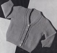 Vintage Knitting Pattern Instructions Babies 1st Long & Short Sleeve Cardigan
