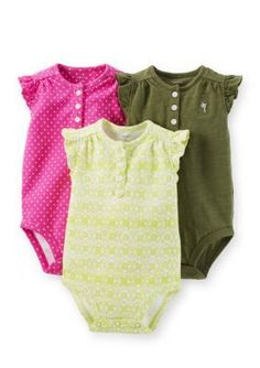 Carters  3-Pack Ruffle Sleeve Bodysuits
