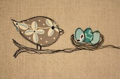 Use Linen for the cushion and machine stitch around fabric bird and eggs. Use Linen for the cushion and machine stitch around fabric bird and eggs. Freehand Machine Embroidery, Free Motion Embroidery, Free Machine Embroidery, Free Motion Quilting, Machine Applique, Bird Applique, Applique Quilts, Embroidery Applique, Embroidery Stitches