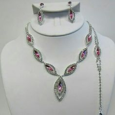 Pink rhinestones necklace earrings and bracelet #beautiful #crystal #rhinestone #jewelry for #weddings #proms #pageants or any #event #bridesmaids #gift #bride #costumejewelry #accessories #statement #formal #date night #gorgeous #stunning #stones #bridal #john 3:16 Jewelry Necklaces
