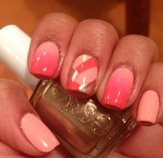 Peach coral and gold nails