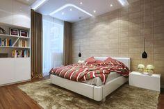 Modern Small Bedroom hanging bedside lights