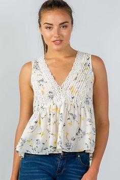 9bb94fed317b27 Ladies fashion floral print crochet babydoll v-neck tank top