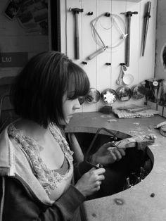 Mel @ Kokkino at work in her studio! Studio Shed, Workshop Studio, Jewelry Studio Space, Studio Spaces, Maker Studios, Working People, Jewelry Making Tools, Jewellery Workshop, Jewellers Bench