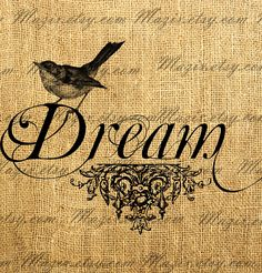 Vintage Bird on a Decorative Word Calligraphy DREAM Digital Image Great For Image Transfer on Pillows, Tea Towels and more - Style. 294. $1.00, via Etsy.