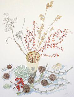 Lichen and Larch - original watercolour - Angie Lewin Watercolor Drawing, Watercolor Paintings, Watercolours, Art Tutorial, Angie Lewin, Yorkshire Sculpture Park, Fruit Art, Art Design, Botanical Prints