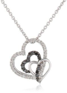 #blackdiamondgem Sterling Silver Black and White Diamond Triple Heart Pendant Necklace (1/6 cttw, ), 18″by Amazon Collection - See more at: http://blackdiamondgemstone.com/jewelry/necklaces/pendants/sterling-silver-black-and-white-diamond-triple-heart-pendant-necklace-16-cttw-18-com/#sthash.U88FGd6K.dpuf