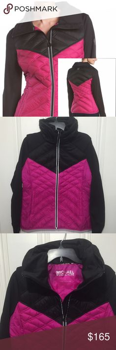 🆕Michael Kors V-Chest Down Filled Coat🆕 MICHAEL Michael Kors Magenta & Black V-Chest Down Filled Coat…new with tags. Featured in magenta and black. Light-weight but will provide plenty of warmth. Don't miss out!!! *Double collar *Long sleeves *Zip front closure *Quilted body *Solid sleeves *Thumb holes at cuffs *Two zip pockets *Colorblocked design *Made of… Body & Outer Shell:  100% nylon; Shoulders, Sleeve & Inner Collar: 95% polyester, 5% spandex; Body Fill: 80% down, 20% waterfowl…