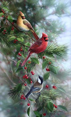 Berry Pickers by Bradley Jackson ~ cardinals & chickadee