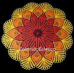 Flames | Cristina Vasconcellos / ColoridoEcletico via Flickr: crocheted doily, 90cm diameter. Gorgeous!