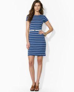 Lauren Ralph Lauren Dress - Short Sleeve Boat Neck Stripe