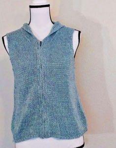 Sigrid-Olsen-Sweater-Cardigan-Size-S-Blue-Zipper-Hood-BoHo-Hippy-Peasant-Spring