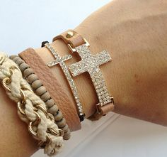 Crystal Cross Wrap Bracelet. Want!!