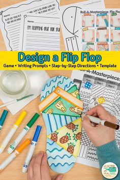 Here's a fun summer flip flop drawing art game for elementary art students. Summer Art Projects, Summer Crafts For Kids, Projects For Kids, Project Ideas, Art Games For Kids, Art Lessons For Kids, Art Lessons Elementary, Drawing Games, Drawing For Kids