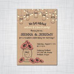 Rustic Mason Jar Elopement Reception Invitation Suite, Wedding Reception Invitation, Response Postcards,Event Invitation, Party Invitation