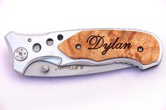 Groomsmen Gifts, Personalized Pocket Knives, Engrave Wood Handle Folding Knives, Custom Engraved Knife, Groomsmen Knives, Groomsman Knife $22.99