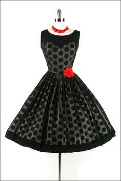 50s polka dot dress #vintagedress
