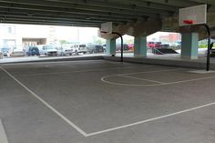 Basketball courts in Underpass Park, Toronto, Canada, a great example of placemaking. Click image for link to full profile and visit the slowottawa.ca boards >> https://www.pinterest.com/slowottawa/
