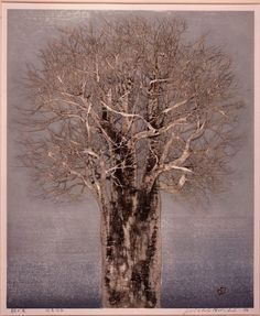 Joichi Hoshi(星襄一 HOSHI Jōichi Japanese, 1913-1979)  Morning Tree    朝の木    1976  Colour woodblock print with silver foil