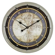 Franklin mint 1830 royal geographical society world map mahogany aspire morris old map distressed green iron wall clock morris old map wall clock metal gumiabroncs Images