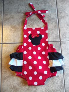 Minnie Mouse Baby Romper by mariahcreations on Etsy, $34.99