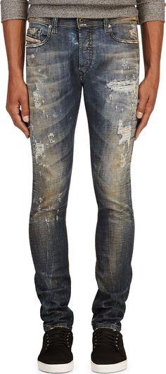Diesel - Blue Distressed Tepphar L.32 Jeans