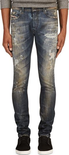 Diesel - Blue Distressed Tepphar L.32 Jeans   SSENSE