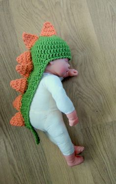 GREAT DINOSAUR With TAIL and Spikes Crocheted Baby Hat , Photo Prop 0-3 months