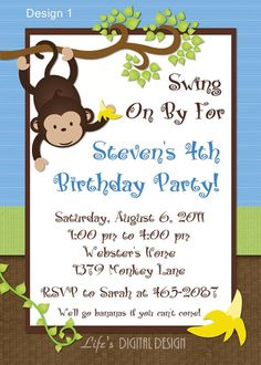 Monkey birthday Thank you cards and invitations