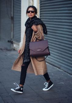 Calf Length Camel Coat / Chunky Scarfe / Distressed Black Skinny Jeans / Black Converse / Wine Coloured Bag
