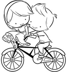 Timbro in gomma montato su legno-Amore bici-Impronte d'autore | Crea Semplice Cute Couple Drawings, Easy Drawings, Embroidery Art, Embroidery Patterns, Colouring Pages, Coloring Books, Love Doodles, Cute Love Cartoons, Wedding With Kids