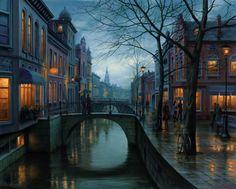 Rainy Morning, peinture par Evgeny Lushpin, 2013 #painting #city #environment