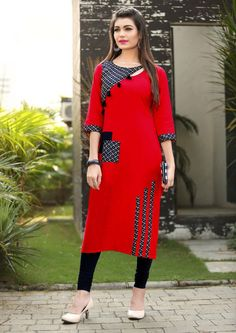 Buy Slub Red & Black Cotton Sleeves Stylish Kurti online in India at best price. Salwar Designs, Simple Kurti Designs, Stylish Dress Designs, Kurta Designs Women, Kurti Designs Party Wear, Stylish Dresses, Cotton Kurtis Designs, Stylish Kurtis Design, Designer Salwar Kameez