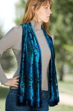 Turquoise Silk Velvet Scarf Overland Sheepskin Co. $35.00